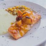 Peach Mustard BBQ Glazed Salmon